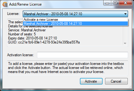 Add/Renew License