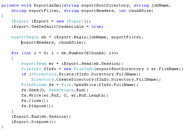 Sample code for execution of the IExport interface