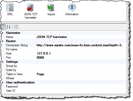 JSON TCP Router Configuration